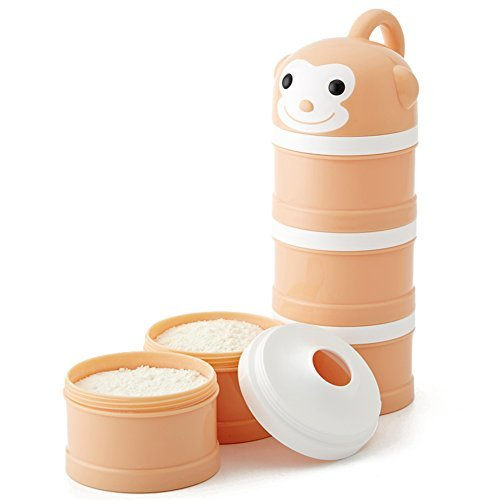 Milchpulver-Portionierer für 3 Portionen Formel Spender Nein Mischen & Verschütten Twist-Lock Stapelbare Snack Container Orange Affe - Top Lebensmittel-lagerung-container