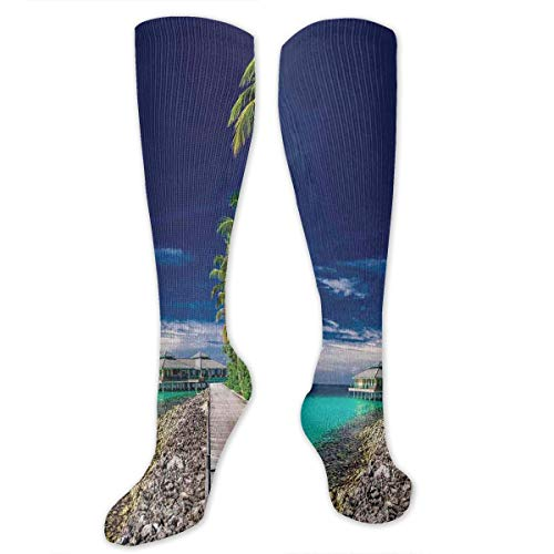 VVIANS Personalized Compression Socks,A Wooden Boardwalk At The Beach Palm Trees In Dark Sky Hawaiian Paradise Scene,Best Medical,for Running,Hiking,Varicose Veins,Circulation & Recovery