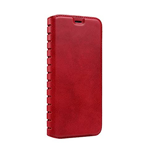 Samsung Galaxy S8 Leather Case,Ecoway Ladder Series Case Practical Multifunction Fashion PU Leather Stand Case Cover compatible with Samsung Galaxy S8 - Red