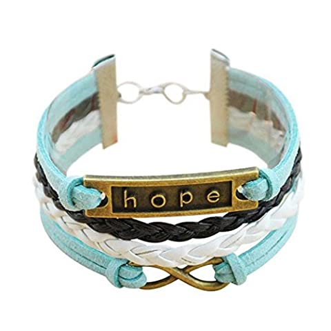Wild Wind (TM) Infinity Hope Multi-cord Blue and White Braided Wrap Bracele by WILD-WIND