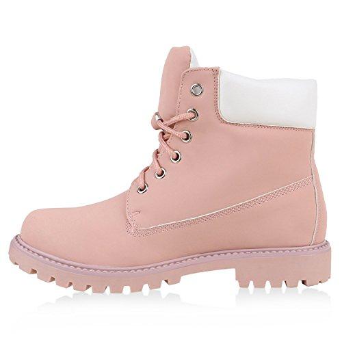 Worker Boots Damen Outdoor Stiefeletten Profilsohle Fester Halt Rosa
