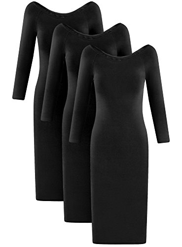 oodji Ultra Damen Kleid mit U-Boot-Ausschnitt (3er-Pack) Schwarz (2900N)