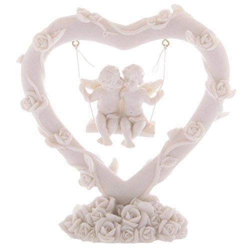 #50091 - decorazione per interni a forma di cuore con angioletti dell'amore su altalena