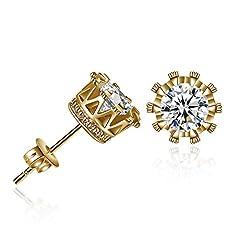 Idea Regalo - Orecchini A Cerchio Argentosemplice Moda Diamante Corona Orecchino Stud Orecchini Donne Gioielli Nascita