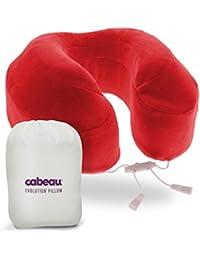 """* NUEVO * Espuma de la memoria CABEAU """"evolución de almohada–almohada de viaje que funciona. Incluye bolsa pequeña, levantado soportes laterales, soporte de trasera funda de almohada para el cuello, cubierta lavable, medios de comunicación, y más. rojo Rojo"""