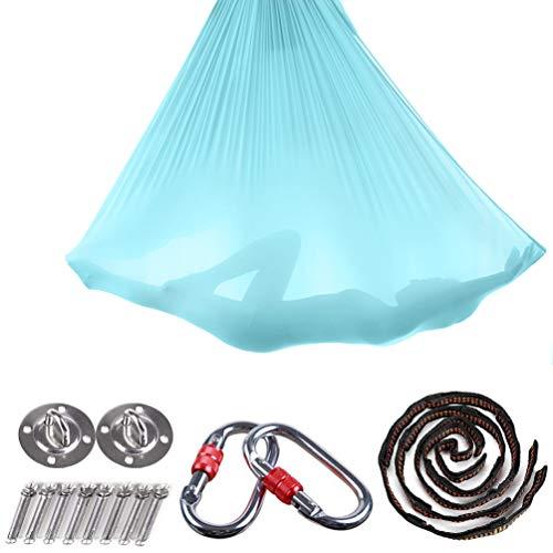 Brinny Yoga DIY Silk Pilates Premium Aerial Silks Equipment Aerial Yoga Tuch Aerial Silk elastische Yoga Hängematte mit Stoff Zubehör 5 Meter (Hellblau)