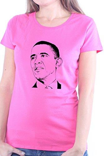 Mister Merchandise Ladies Frauen Damen T-Shirt Barack Obama, Größe: XL, Farbe: Pink -