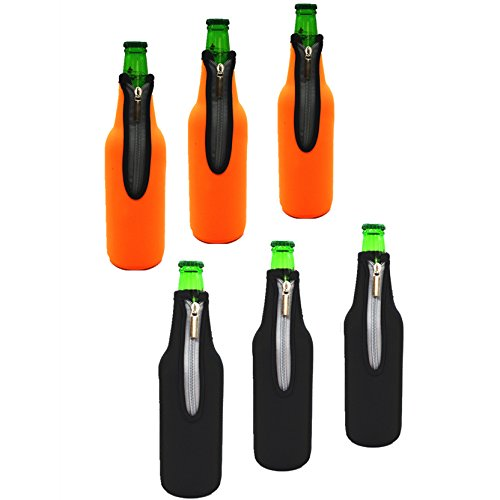 AF-WAN-Bierflaschen-Hülse -Premium 6 Pack 19,4 Unzen (550ML) Mehrfarbige Isolierte Flaschenhülsen Neopren-zusammenklappbare Reißverschluss-Bierflaschen-Kühler-Kasten Behalten Sie Bier-Apfelwein-weiches Getränk-Wasser, das für Party-Stab-Haus kühl ist (3pcs Schwarzes + 3pcs Orange) (Six Pack Bier)