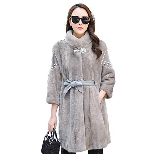 Elegante gonne le donne 3/4 maniche oversize cappotto con cintura pearl inverno decorazione di media lunghezza cappotto casuale abbigliamento (color : gray, size : m)