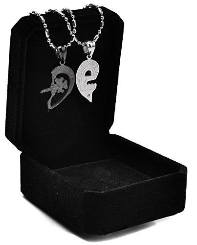 """*EP Paar Halskette Gebrochene Herz Kette aus 925er Silber ' I LOVE YOU """" – Zwei kostenlose Wunschgravuren! (Herz-Schwarz)*"""