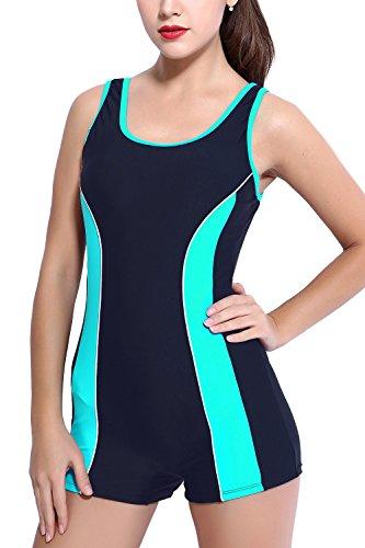 CharmLeaks Damen Bademode Schwimmanzug mit Bein Hotpants 6904 Dunkelbalu Mint 48