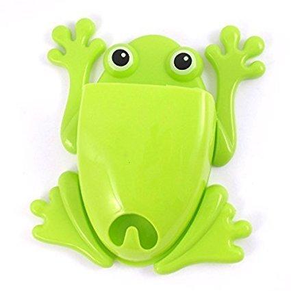 OnlineA2A Plastic Bathroom Frog Shape Removable Toothbrush Brush Holder Green