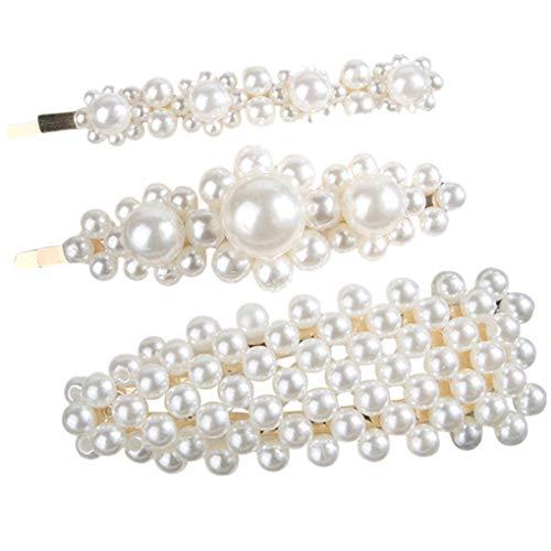 Haarschmuck/Dorical Damen Hochzeit Haarspange Braut Gold Perlen Schleife Glitzer Accessoires/Geburtstags Geschenk Party Zubehör Großer Spitzer Clip Mama Frauen Mädchen (One Size, Z003-C(3Pcs)) -