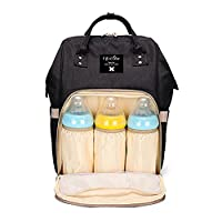 Lifecolor Baby Nappy Bag Waterproof Multi-Function Travel Backpack Large Capacity, Stylish and Durable (Black)
