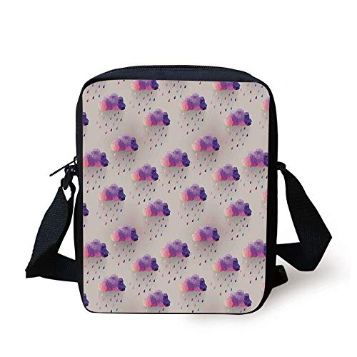 LULABE Geometric,Retro Decor Triangle Pattern Geometric Art Mosaic Rain Drops on Polka Dots Print,Purple Grey Pink Print Kids Crossbody Messenger Bag Purse (Insulated Womens Rain)