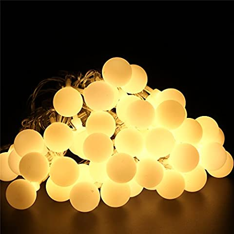BlueFire 31ft 50 LED Ball Fairy Lights 8 Lighting Modes with Remote Control and Safe DC Plug for Wedding/Lawns/Christmas/ Indoor & Outdoor Decoration (Warm White)