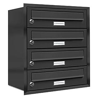 AL Briefkastensysteme, 4er Unterputzbriefkasten in Anthrazit Grau RAL 7016, 4 Fach wetterfeste Briefkastenanlage Design modern