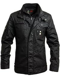 Crosshatch Mens Plixxie Coated Black Jacket in Black