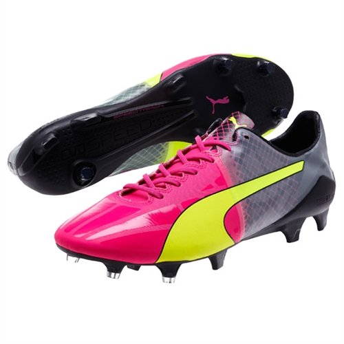 Puma Mens EvoSpeed 1 5 Tricks FG Pink Glo Safety Yellow Black Soccer Shoes - 10 5A