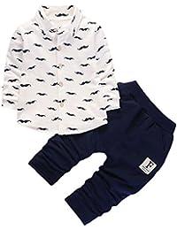 Covermason Bebé Niños Manga Larga Lindo Barba Impresión Camiseta + Pantalones para 0-3Años (2PCS/1 conjunto)