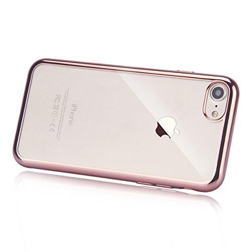 iPhone 7 Hülle,iPhone 7 2016 Hülle,JAWSEU Luxus Silber Klare Ultradünne Silikon Gel Schutzhülle Durchsichtig Kristall Transparent TPU Silikon Bumper Schutz Handyhülle Case Tasche Etui für iPhone 7 4.7 Rose Gold