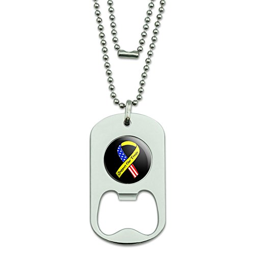 Unterstützen Unsere Truppen Band–Gelb und Flagge auf Black Dog Tag Flaschenöffner (Truppen Dog Tag)