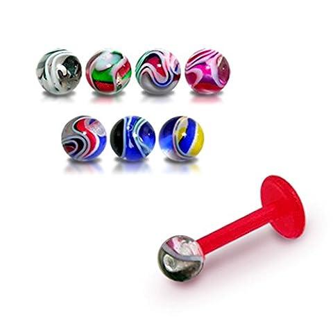 Bijou Piercing Labret pour lèvres 16Gx1/4 (1.2x6MM) Bioflex avec Boule UV Marbre multi couleurs 3MM Lot de 10 pièces couleurs assorties