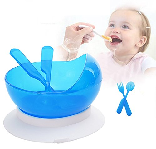 Reizbaby Suction Training Feeding Bowl with Spoon and Fork Stay-put Spill Proof Bowl with Bowl Mat for Toddlers BPA Free (blue) 41qPRI8OxcL