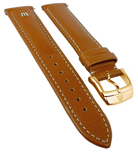 Maurice Lacroix Eliros Elegant | Kalbsleder Uhrenarmband, Hellbraun, versenktes Emblem 33364, Stegbreite:20mm