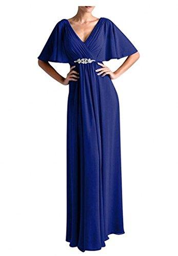 Charmant Damen Einfach Chiffon V-ausschnitt Abendkleider Brautmutterkleider Partykleider Lang A-linie Royal Blau