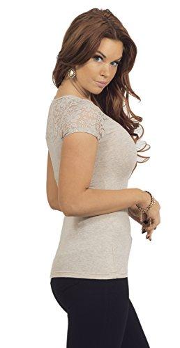 Femmes shirt U-cou Floral Lace Haut à manches courtes Dames Top Cereales