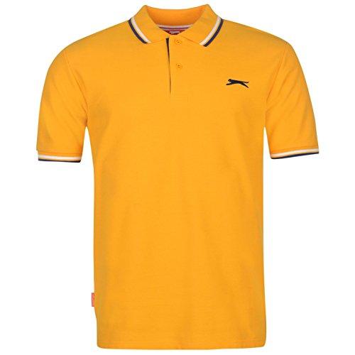 Slazenger Herren Tipped Polo Shirt Kurzarm Polohemd Streifen Details Orange 3XL (Orange-streifen-polo)