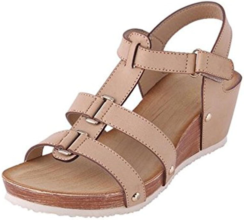 HIGHXE Rivet Rhinestone Princess Shoes One Word Hebilla Women's High Heel Round Head Negro Desnudo Rosa, Pink, 38 -