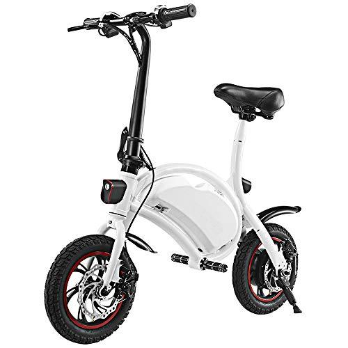 KY&cL Bicicleta eléctrica 12 Pulgadas Plegable Cuerpo E-Bike Scooter, 50W 36V Plegable Bicicleta eléctrica Scooter con Rango de 12 Millas, Ajuste de Velocidad de aplicación, Blanco