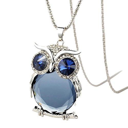 AnaZoz Joyería de Moda Collar de Mujer Aleación Colgante Collar Búho Azul Collar Color Azul Collar Para Mujer