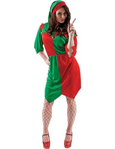 (Damen Weihnachten Elf Kostüm Weihnachtsfeier Santas Helfer Karneval Medium)