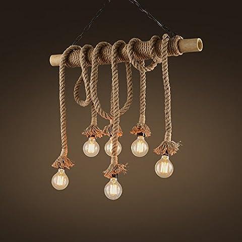 Bambus Zylinder Hanf Seil Kronleuchter American Retro Einfache Kreative Dekorative