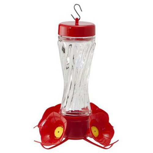 WOODLINK - Bird Feeder, Hummingbird, Clear Swirl Glass, 8-oz.