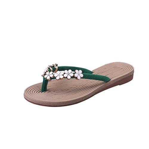 VJGOAL Damen Zehentrenner, Damen Mode Böhmische Sommer-Sandelholz-Pantoffel Innenim freien Flache Strand-Schuhe Flipflops (38 EU, Grün)
