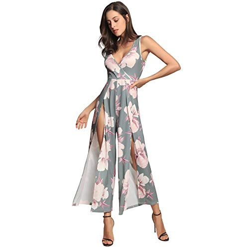 Polka Dot Overall (SEMIR Damen V-Ausschnitt Jumpsuits Rückengurt Jumpsuit Ärmelloses Spilled Floral bedruckter Overall Partyhose Grün M)