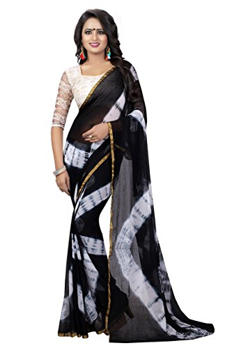 J B Fashion Women\'s chiffon black Saree With Blouse Piece