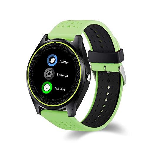 Lbyhning Fitness Armband, Fitness Tracker Smart Watch Bluetooth wasserdichtes Armband Herzfrequenzmessung Karte Anruf Foto Kamera Uhr Schrittzähler Runde Bildschirm
