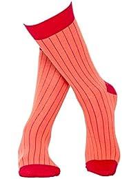 Rosa rot längst gestreifte Socken aus hochwertiger, langstapliger Bio Baumwolle, GOTS zertifiziert