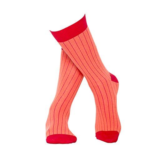 Rosa rot längst gestreifte Socken aus hochwertiger, langstapliger Bio Baumwolle, GOTS zertifiziert - M - (39-42) (Gestreifte Aus Socken Bio-baumwolle)