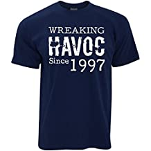 21st Birthday Mens T-Shirt Wreaking Havoc Since 1997 Novelty Distressed Design Happy Gift Present Idea Year Trouble Mischief Slogan Cool Funny Gift Present