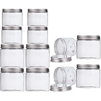 Pack-12 Tarro Plastico con Tapa de Metal Atornillable (6 piezas 350ml + 6 piezas 150ml) Transparente Botes Cocina Recipientes Slime Contenedor Alimentos de Makone