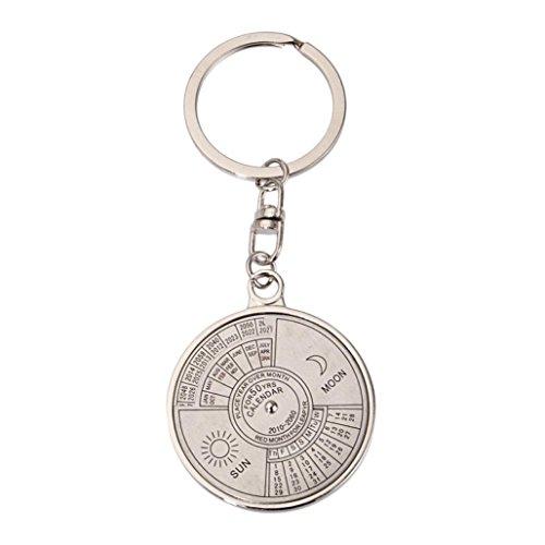 HCFKJ 50 Jahre ewiger Kalender Schlüsselanhänger Einzigartiges Kompass Metall KeyChain Geschenk (Jacke-spiel Columbia)