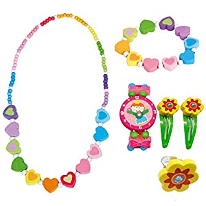Bino 6 TLG. Set Holzschmuck Mädchenschmuck Kinderschmuck Motiv Regenbogen Herz – Halskette Armband Herz Lila Armbanduhr Ring 2 Haarspangen