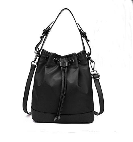 LINGE-A tracolla borsa a tracolla signora tempo libero tessuto Oxford , black Black