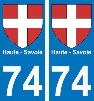 2 Autocollants Plaque Immatriculation Auto Département 74 Croix de Haute Savoie
